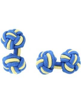 Cobalt Blue and Light Yellow Silk Knot Cufflinks
