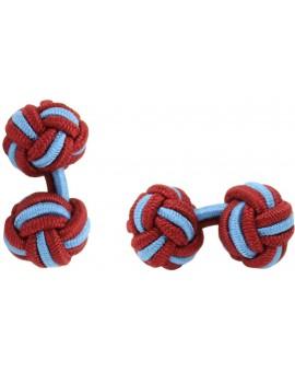 Burgundy and Light Blue Silk Knot Cufflinks