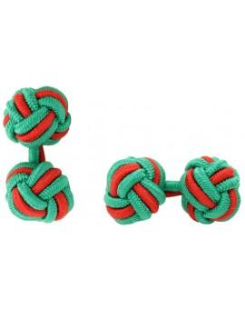 Green and Red Silk Knot Cufflinks