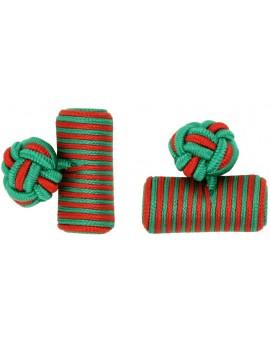 Green and Red Silk Barrel Knot Cufflinks