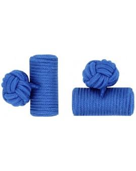 Cobalt Blue Silk Barrel Knot Cufflinks