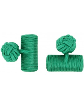 Green Silk Barrel Knot Cufflinks