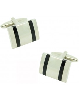 Black Stripes Rectangle Cufflinks
