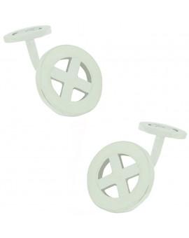 Sterling Silver Round X Cufflinks