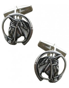 Sterling Silver Horse Head and Riding Whip Cufflinks