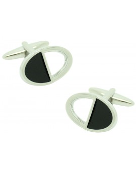 Gemelos Oval Black and Silver