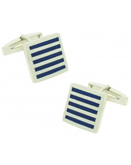 Sterling Silver Blue Striped Square Cufflinks
