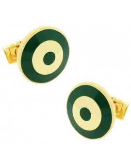 Golden and Green Bomber Skultuna Cufflinks