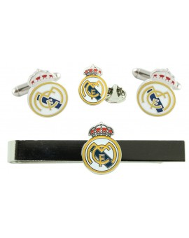 Pack Gemelos camisa, Pisacorbatas y Pin Real Madrid