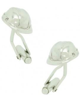 Silver Construction Helmet Cufflinks
