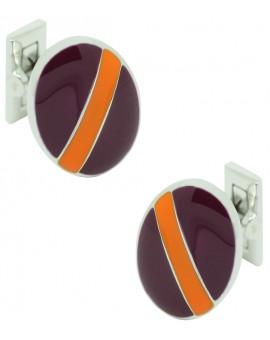 Heraldy Bend Skultuna Cufflinks - Purple and Orange