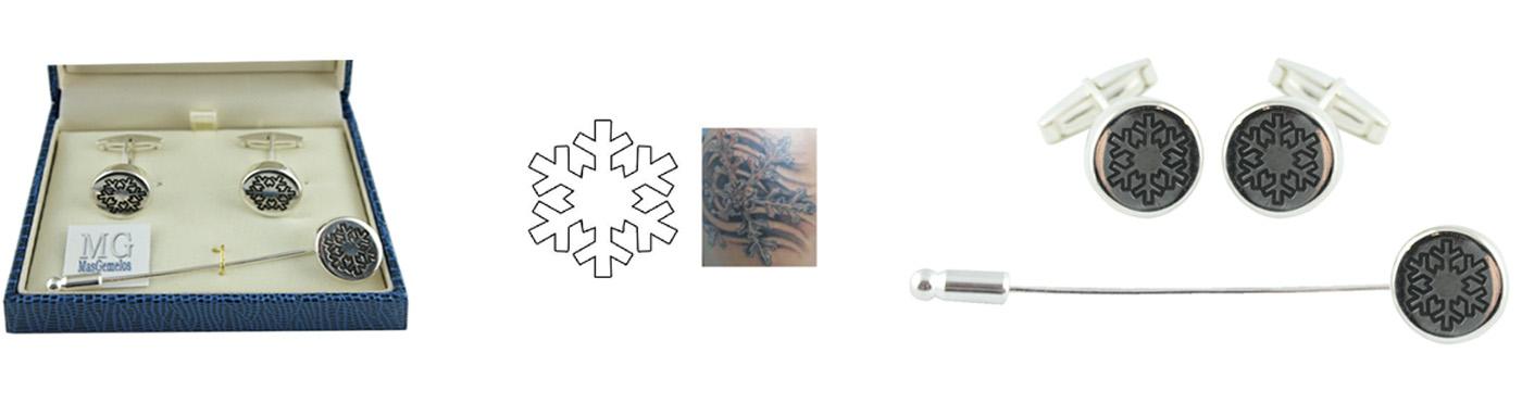 Gemelos y alfiler de corbata basados en tatuaje