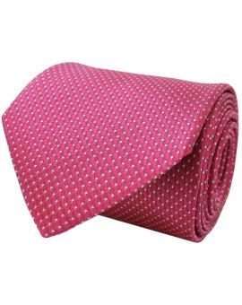 Corbata rosa de seda con estampado de rombos