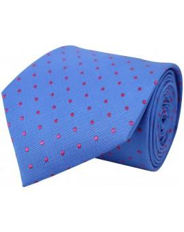 Corbata azul de seda con bordado de topos en fucsia