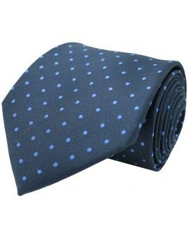 Corbata azul marino de seda con bordado de topos en azul claro