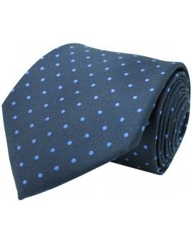 Navy blue tie with printed dots in light blue