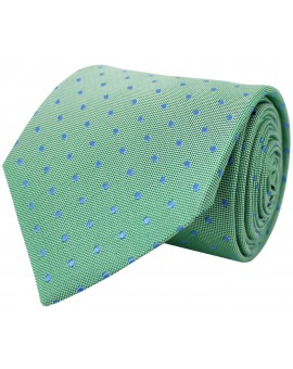 Corbata verde de seda con bordado de topos en azul claro