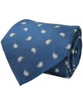 Blue navy tie with printed paisley. 100% Silk.