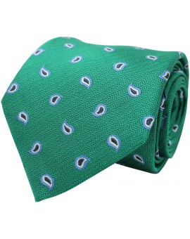 Green tie with printed paisley. 100% Silk.
