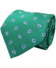 Corbata verde con bordado paisley de seda