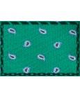Corbata verde de seda con bordado de amebas