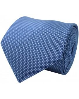 Corbata azul de seda con relieve