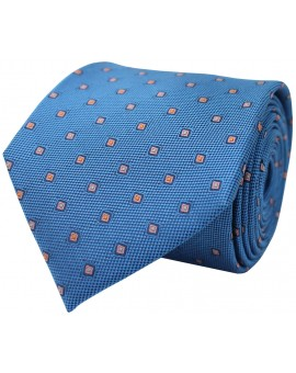 Blue tie with printed geometric figures. 100% Silk.