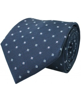 Navy blue tie with printed geometric figures. 100% Silk.