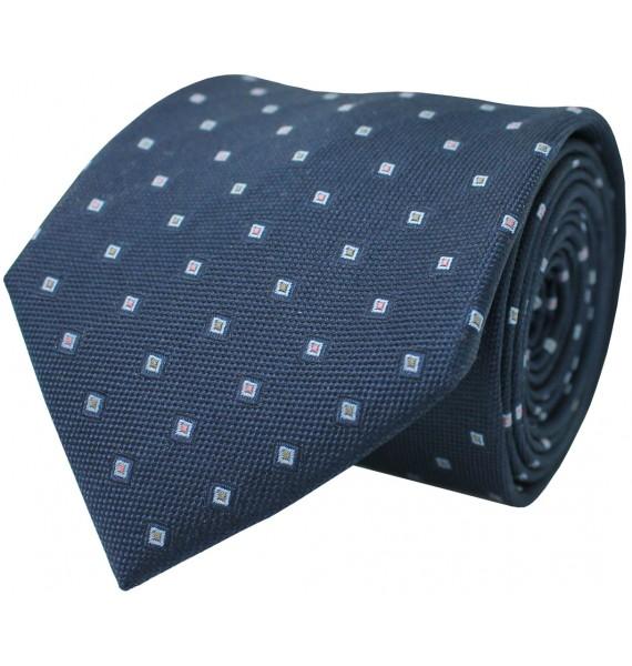 Navy blue tie with printed geometric figures. 100% Silk.