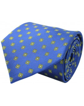 Blue tie with printed geometric figures in yellow