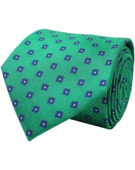 Corbata verde con bordados geométricos en tonos azules de seda