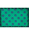 Green tie with printed geometric figures in blue. 100% Silk.