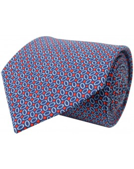 Tie with printed geometric figures in blue, white and red. 100% Silk.