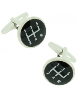 Black Gear Lever Cufflinks
