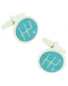 Blue Gear Lever Cufflinks