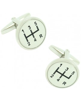 White Gear Lever Cufflinks