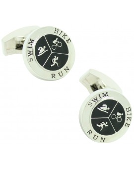 Round Triathlon Cufflinks