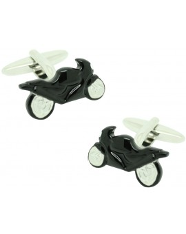 Black GP Motorbike Cufflinks