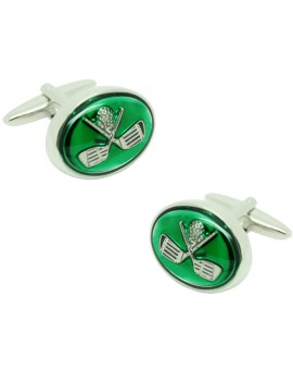 Green Golf Clubs Cufflinks