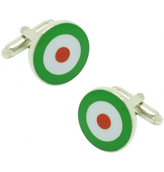 Red, White and Green Military Aircraft Insignia Cufflinks