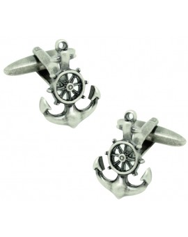 Anchor with Boat Wheel Cufflinks
