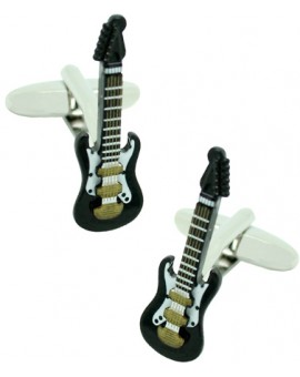 3D Black Electric Guitar Cufflinks