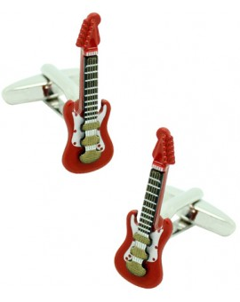 3D Red Electric Guitar Cufflinks