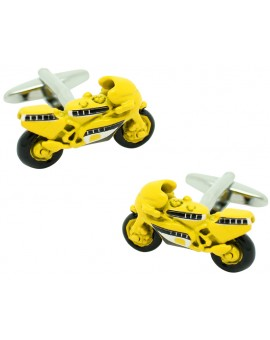 Yellow GP Bike Cufflinks