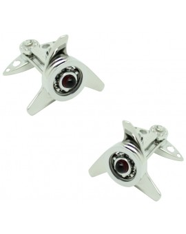 GTO Steel Red Spinner Cufflinks