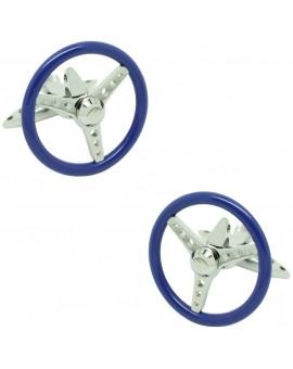 Gemelos para camisa Spinning Volante Azul GTO Steel