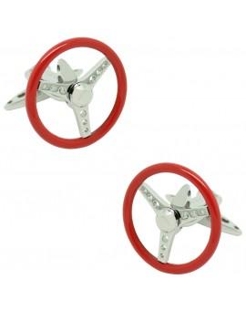 GTO Steel Red Spinning Volante Cufflinks