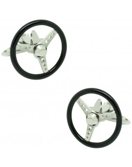 Gemelos para camisa Spinning Volante Negro GTO Steel