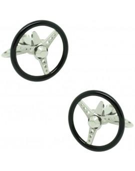 GTO Steel Black Spinning Volante Cufflinks
