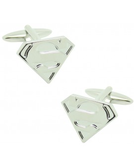 Silver Plated Superman Shield Cufflinks